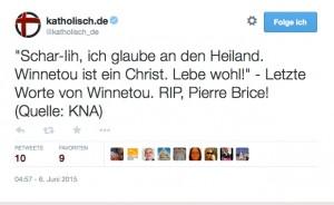 Chsr-lih, ich glaube an den Heiland. Winnetou ist ein Christ. Leb wohl!